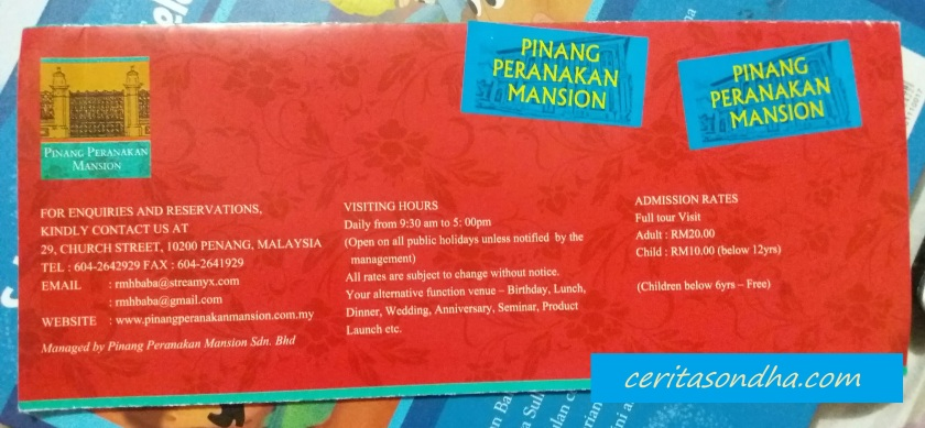Brosur Peranakan Mansion